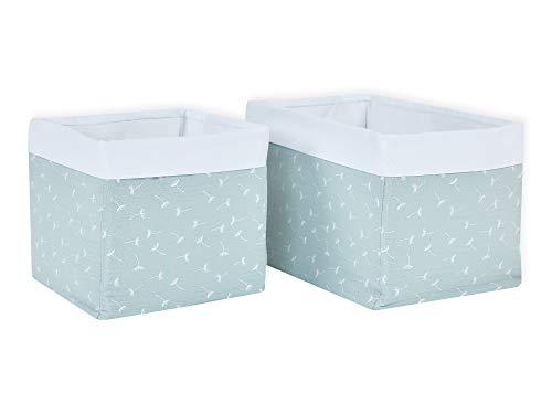 KraftKids Stoff-Körbchen in Musselin mint Pusteblumen, Aufbewahrungskorb für Kinderzimmer, Aufbewahrungsbox fürs Bad, Größe 20 x 33 x 20 cm