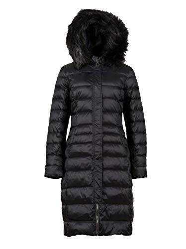 Northland Marina dames donsjas gewatteerde jas winterjas zwart bordeaux rood met imitatiebont capuchon getailleerd gevoerd lang (Art No.- 02-09794-Marina)