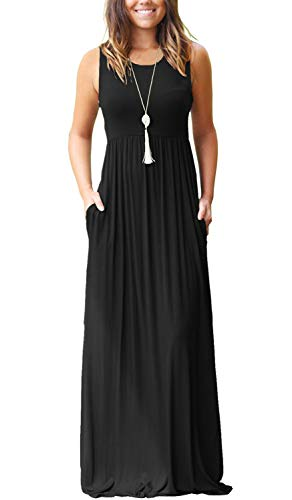 MISFAY Maxi Dresses for Women Sleeveless Tank Top Floral Maxi Dress (XL,Black)