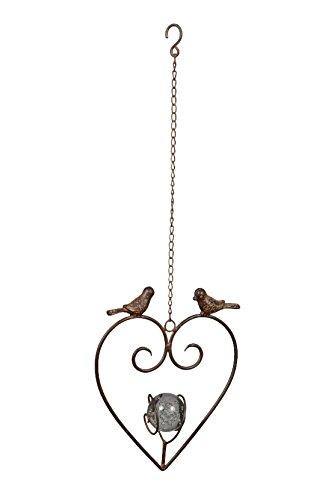 Bellaflor decoratieve hanger hart met bal en vogels/gietijzer / 24 x 67 cm/donkerbruin