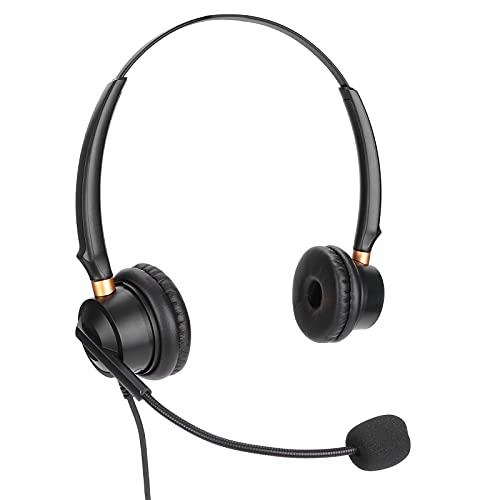 Auriculares para centro de llamadas, auriculares comerciales con cable de 2,5mm Auriculares para teléfono manos libres con micrófono con cancelación de ruido y control de volumen para servicios