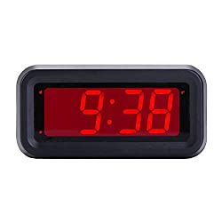 EUTUKEY Bedroom Alarm Clock Battery Operated Only, 4 LED Screen, Big Red Digit Display, 2 Levels of Automatic Dimming, Snooze, 12/24h, Easy Digital Clock for Kids and Adults, Elderly, Boys, Girls