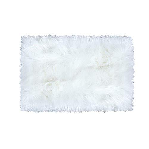 OVBBESS Alfombra de piel de oveja sintética supersuave, suave, de felpa, de piel sintética, color blanco, para dormitorio, mesita de noche, 2 pies x 3 pies, color blanco