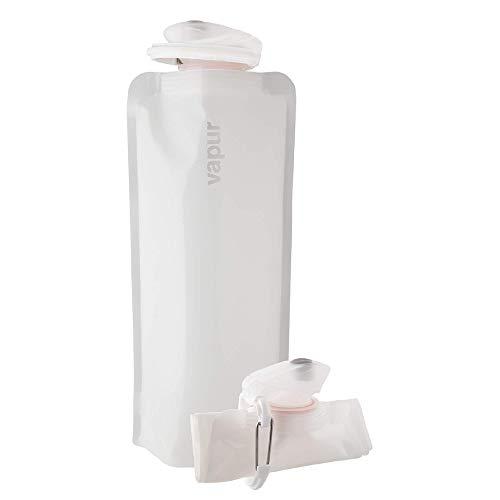 Vapur Unisex Solide BPA-freie auslaufsichere langlebige faltbare flexible Wasserflasche mit Karabiner, Whiteout, 1 Liter