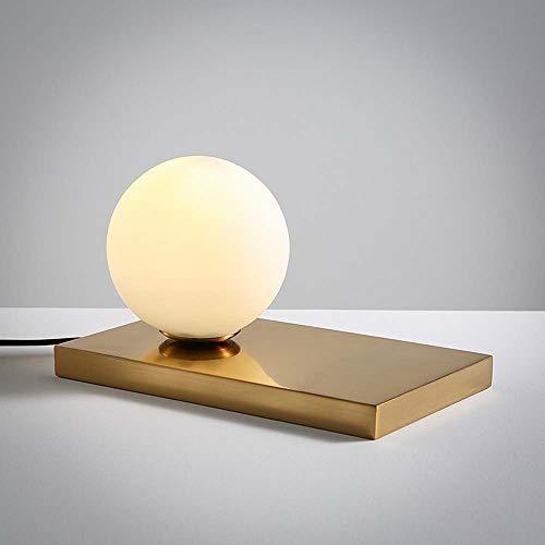 L.W.S Lámpara de Escritorio Lámpara nórdica Creativa Simple Vidrio Redondo Ronda de Dormitorio esférico Estudio Mini lámpara de Mesa
