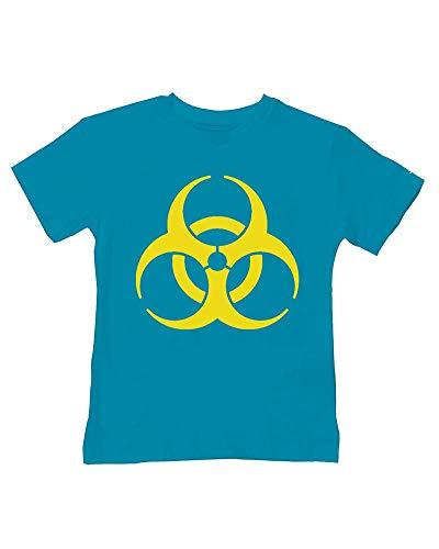 Ice-Tees Biohazard Bébé - ICON Symbole Dangerous Toodler - T-shirt en coton doux pour enfant - Turquoise - 2-3 ans