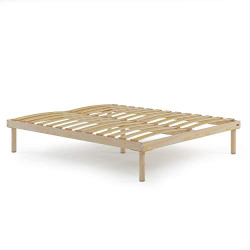 Mobili Fiver, Doppelbett Lattenrost 160x190cm mit Holzlattenroste, totale Hoch 36 cm, Mehrsichtiger Birke, Made in Italy