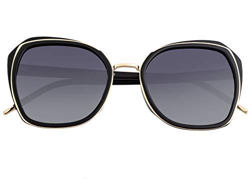 Bertha Jade Metal Square Polarized Damen Sonnenbrille BRSBR042, BRSBR042BK, Gold, BRSBR042BK