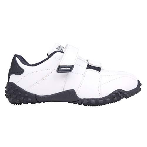 Lonsdale Kinder Baby Fulham Turnschuhe Sport Durable Sohle Grip Leder Schuhe Weiß/Marineblau C4 (20)