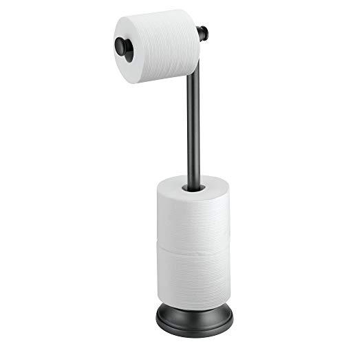 Price comparison product image InterDesign Kent Free Standing Toilet Paper Holder for Bathroom,  Black