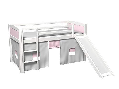 GABI Cama infantil con tobogán, cortina, somier, colchón.
