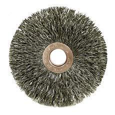 WEILER Steel Wheel Brush 0.006 in Bristle Diameter - Arbor Attachment - 4 in Outside Diameter - 1/2 in Center Hole Size - 99553