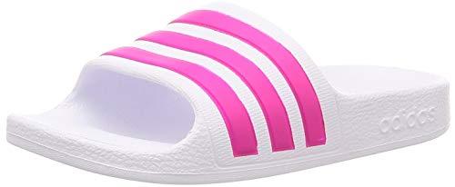 Adidas Unisex Kinder Adilette Aqua Dusch-& Badeschuhe, Weiß (Footwear White/Real Magenta/Footwear White), 33 EU