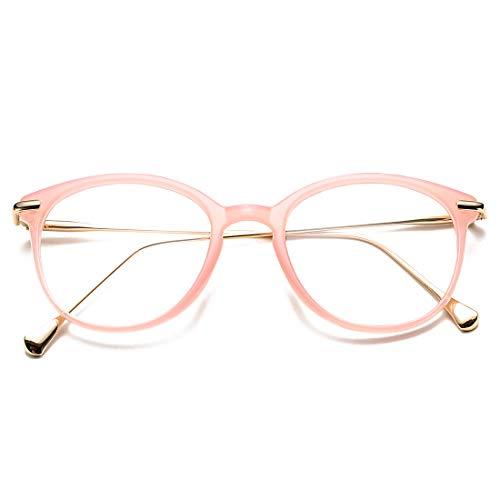 COASION Vintage Round Clear Glasses Non-Prescription Eyeglasses Frames for Women Men (Pink/Gold)