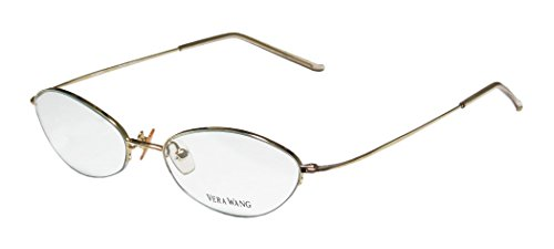 Vera Wang V24 Womens/Ladies Rx-able Red Carpet Style Designer Half-rim Eyeglasses/Glasses (49-16-136, Gold)
