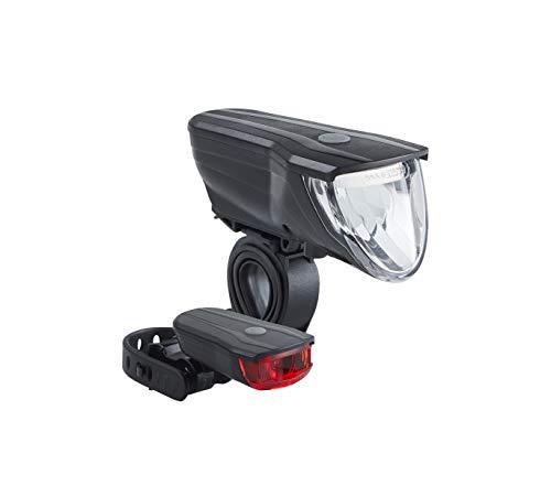 Büchel Vancouver Pro, StVZO zugelassen, 70 Lux, LED Akkuleuchtenset, automatische Lichtsteuerung, Rücklicht mit Bremsfunktion, schwarz, 51227501