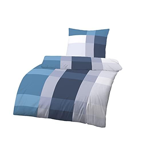 Träumschön Renforce Bettwäsche 155x220 Baumwolle | Sommerbettwäsche 155x220 Baumwolle | Bettbezug Blau Weiß kariert | Tolle Sommer Bettwäsche