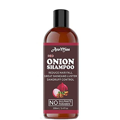 Glamorous Hub Aromine Premium Champú de cebolla roja para el crecimiento del cabello de hombres y mujeres (100 ml)