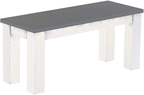 Brasilmöbel Sitzbank 100 cm Rio Classico Seidengrau Weiss Pinie Massivholz Esszimmerbank Küchenbank Holzbank - Größe und Farbe wählbar
