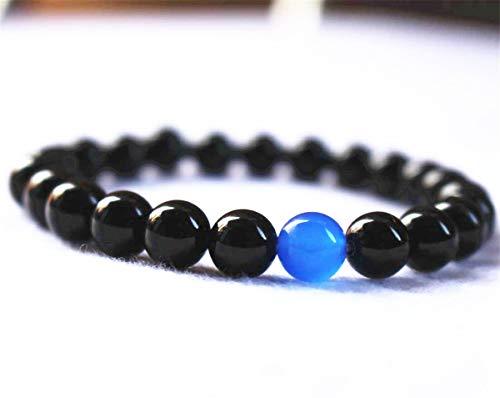 Pulsera de cuentas de ónice negro natural, joyería de ágata, pulsera de ágata azul, pulsera de labradorita, pulsera al por mayor.