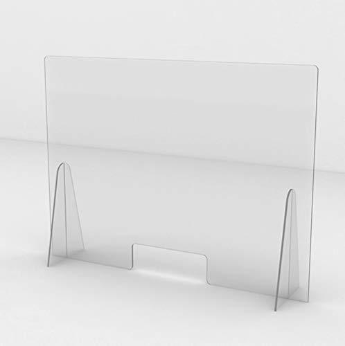Protezione in Plexiglass Pannello Barriera Parafiato da Banco per Farmacia Supermercato separè schermo protettivo barriera parasputi (100x70)