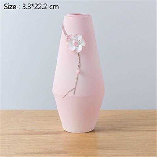 Bloem van het glas Vazen 1Pc Hand-kneden Geglazuurd Porselein Vaas Van De Bloem Kunst Bloempotten For Home Decoration voor Verjaardag Wedding (Color : Pink)