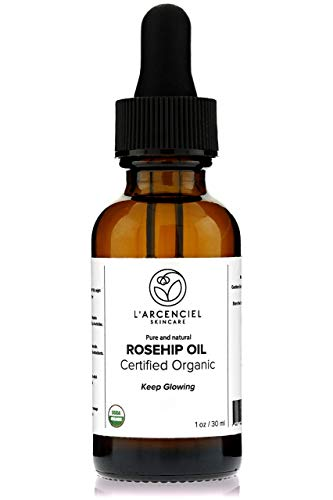 Organic Rosehip Oil (1 oz.) by L'arcenciel Skincare. 100% Pure and Natural, Cold-Pressed, USDA Certified Organic Moisturizer for Face and Skin