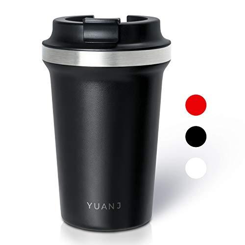 Yuanj Premium Thermobecher Kaffeebecher to go, 350ml Edelstahl Isolierbecher, Doppelwandig & Vakuumisoliert Autobecher/Travel Mug für Kaffee oder Tee (Schwarz)