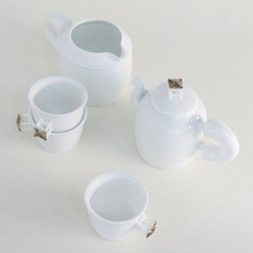 Service à thé Porcelaine Blanche Asie Théière Tasse Cruche PAVILLON COREEN