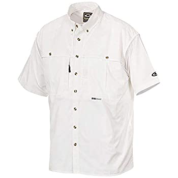 Drake Waterfowl Men s Casual Cotton Wingshooter s Breathable Moisture-Wicking Button-Down Short Sleeve Shirt with Staycool Fabric White XX-Large