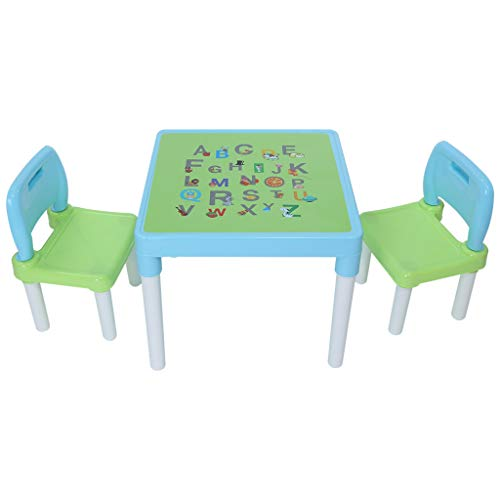 Gallity Kids Table and Chairs Set - Toddler Activity Letter printing Chair Best for Toddlers Lego, Reading, Train, Art Play-Room (2 Childrens Seats with 1 Tables Sets) (Light Blue)