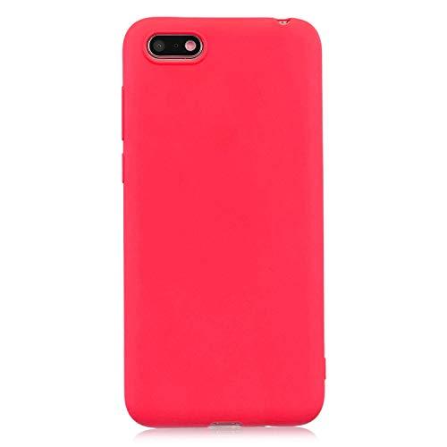 cuzz Custodia Huawei Y5 2018/Y5 Prime 2018/Honor 7S+{Film di Vetro temperato}Silicone TPU Cover Morbida Protettiva Custodia Ultra Sottile Leggero Cover-Rosso