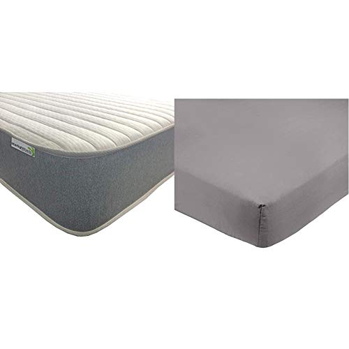 Starlight Beds Double 4ft6 Memory Foam Sprung Mattress with Luxurious Jersey Knitted Fabric & AmazonBasics Microfibre Fitted Sheet, Double, Dark Grey
