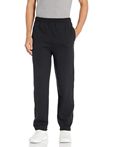 Gildan Men's Fleece Elastic Bottom Pocketed Pant, Black, X-Large