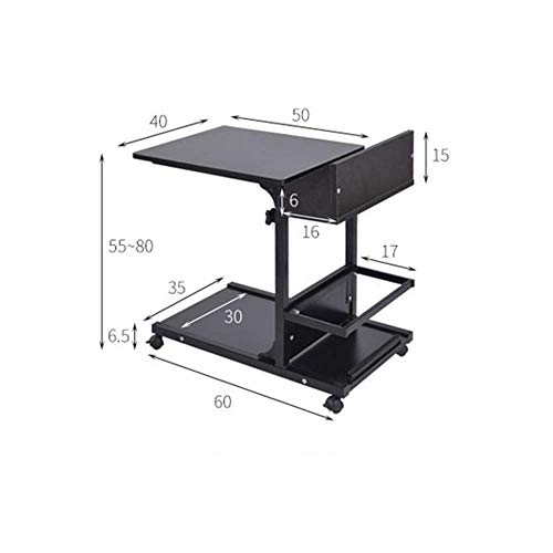 N/Z Home Equipment Computer Desk Movable Height Adjustable Bedside Table with Storage Rack Laptop Table Bedroom Mini Lazy Desk Multi-Color Optional For Home Office (Color : Oak Size : 60x40x55-80cm)