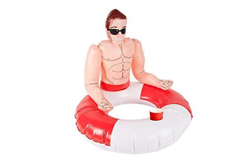 Smiffys 50885 aufblasbarer Schwimmring Mir attraktivem Rettungsschwimmer, Unisex Erwachsene, Rot & Weiß, Einheitsgröße