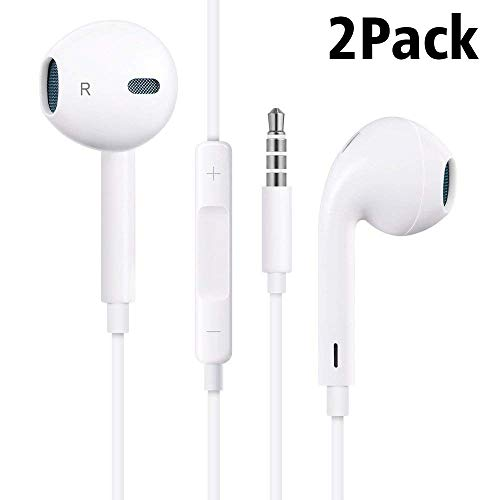 MOPIDICK Earbuds/Earphones/Headphones, (2Pack) Premium in-Ear Wired Earphones with Remote & Mic Compatible iPhone 6s/plus/6/5s/se/5c/Samsung/MP3-03, White, Small