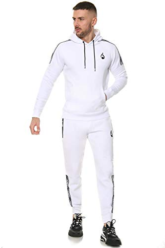 Mens Full Tracksuit Set Fleece Hoodie Joggers UK Slim Fit Sizes XS 3XL White Medium