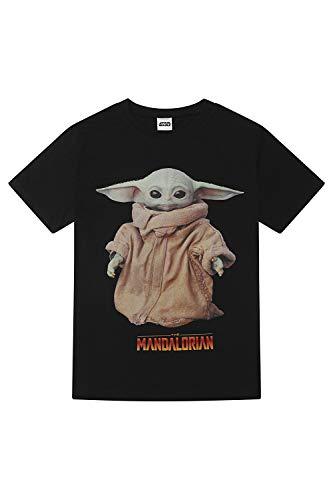 Star Wars Herren T-Shirt The Mandalorian The Child Yoda Portrait, Schwarz , M