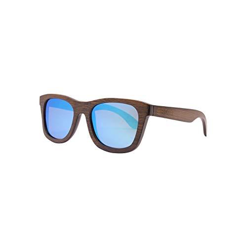 Aldeea Gafas de sol de bambú con funda para gafas, polarizadas, UV400, varios colores, lentes antirreflejos, patillas de bambú, protección UV, unisex, madera/hecha a mano