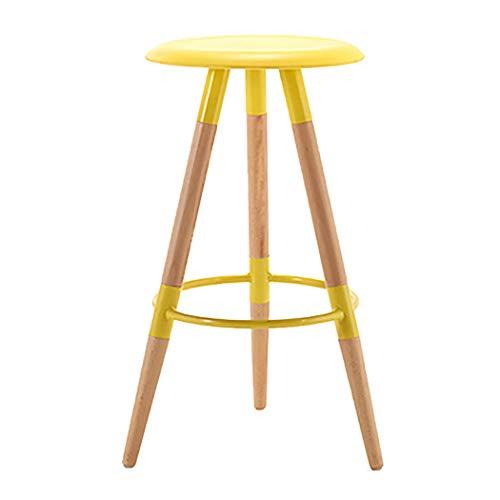 JQQJ barkruk industriële kruk design voetensteun massief houten zitting met voetensteun van kunststof rond stabiel voethuis kruk restaurant barkruk barkruk losse 45x45x79cm Geel