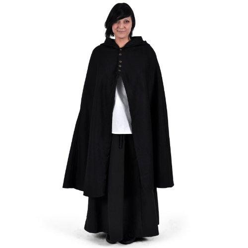 Umhang Damen Mittelalter Kapuze Metallknöpfe warm u wasserabweisend schwarz - 2