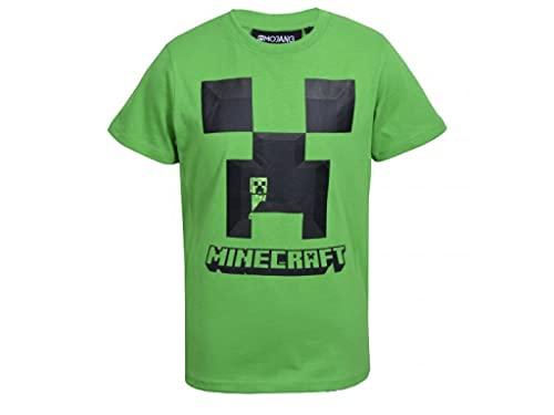 MINECRAFT Camiseta de niño de manga corta de algodón 100% original Verde...