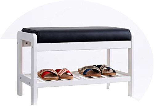 YLCJ schoenenrek, modern, minimalistisch, schoenenkast van massief hout, kruk van PU, zacht, kussen Home Shoe Stool (wit) (grootte: 65 x 34 x 42 cm)