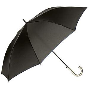 [ムーンバット] MIZUNO(ミズノ) 紳士 耐風 ジャンプ傘 パイピング 無地 メンズ ブラック 日本 親骨65cm (FREE サイズ)