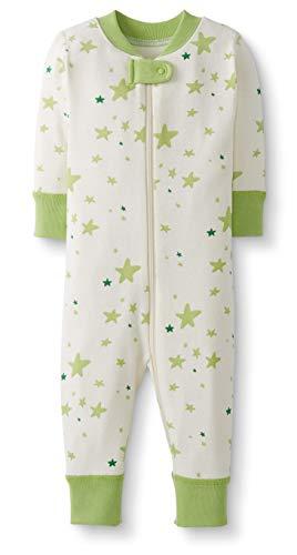 Moon and Back de Hanna Andersson - Pijama de una pieza sin pies hecho de algodón orgánico para bebé, Verde lima (Lime Green), 0 messes (45 CM)