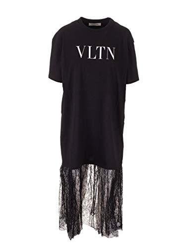 Valentino Luxury Fashion Damen SB3MG02L4T20NI Schwarz Baumwolle Kleid | Jahreszeit Permanent