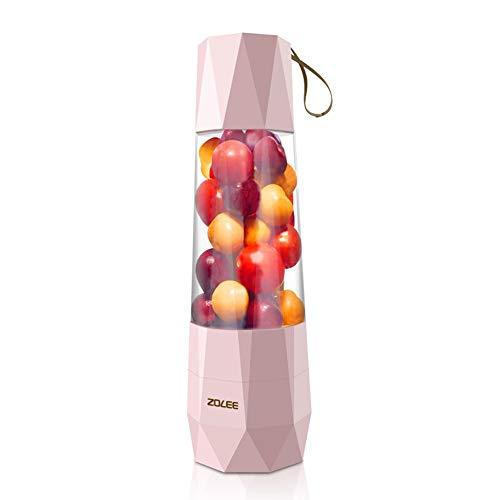 Mini Entsafter,Multifunktionale Portable Blender,USB Ladeweg, Geeignet Für Obst, Milchshakes, Babynahrung Geeignet für Outdoor, Sport und Familie 400 ml(Rosa)