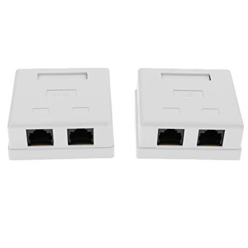 IPOTCH Caja Compacta de Montaje en Superficie de Pared con Cable de Red Y Cat6 de 2 Puertos - 2 Piezas