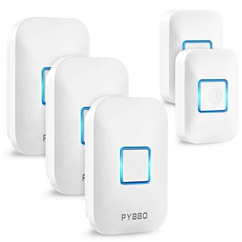 PYBBOワイヤレスチャイム 呼び出しドアベルインターホン無線セット玄関 防水 防塵 インターホン 60メロディー 5段階音量調整 最大300Mの無線範囲 大音量 25dBから110dBまで調整可能 電池式 送信機2個 受信機3個
